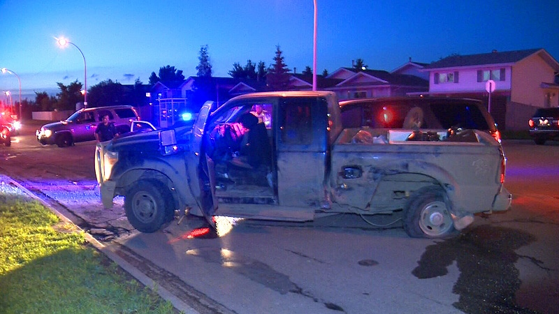 EPS officers on the scene, where a stolen truck was stopped - after allegedly leading police from surrounding areas on pursuits throughout the area late Sunday, July 7, 2013.
