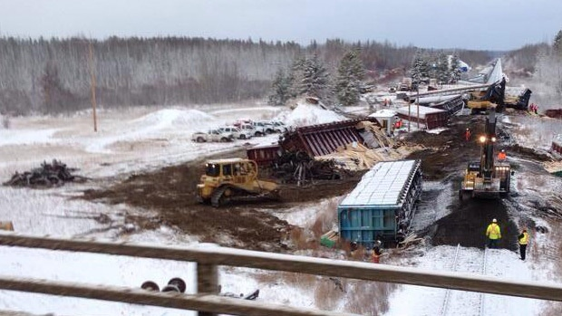 Officials are on the scene of a train derailment west of Edmonton, near Peers. Photo courtesy: Xm105FM and website mytowntoday.ca.