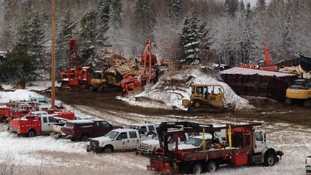 CN Rail crews are cleaning up following a train derailment near Peers Sunday morning.
