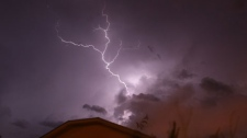 A blast of lightning lights up the sky near Spruce Grove overnight.