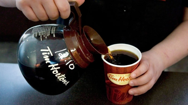 A cup of Tim Hortons coffee is poured in Toronto on May 14 2010. (Chris Young / THE CANADIAN PRESS)