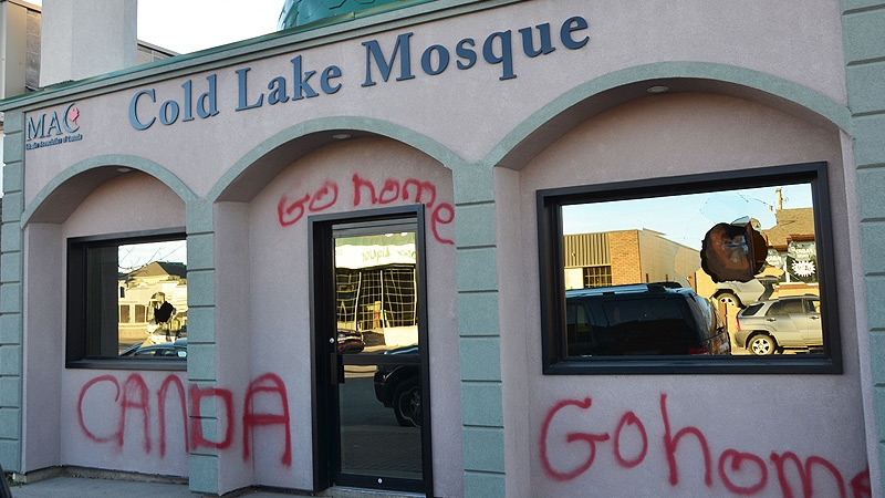 RCMP are investigating after the front of the Cold Lake Mosque Main St. was vandalized. Courtesy: Cold Lake Sun.