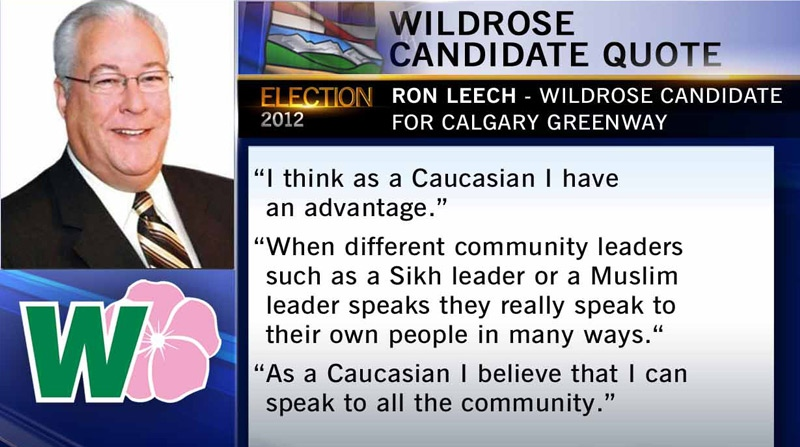 Controversial quote from Wildrose candidate for Calgary Greenway Ron Leech