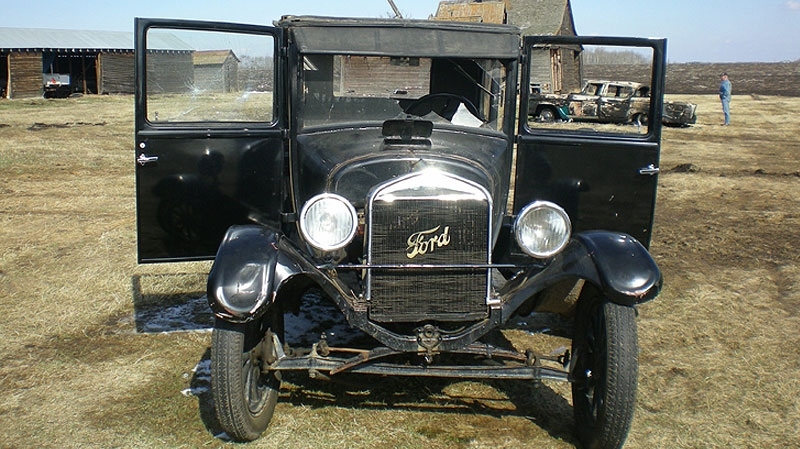 A vandalized 1925 Ford Model T is shown on a farm, south of Spruce Grove, Alberta. Supplied.