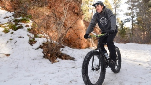 Riding a Surly Fat Bike in Story, Wyo.