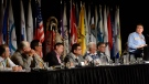 Assembly of First Nations national Chief Perry Bellegarde, right, gives the keynote speech at the AFN's annual conference in Montreal on Tuesday, July 7, 2015. (Ryan Remiorz / THE CANADIAN PRESS)