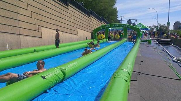 Slide the city sells out edmonton event ctv edmonton news - The giant slide apartament ...