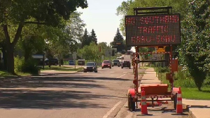Traffic calming measures in effect on 106 St.
