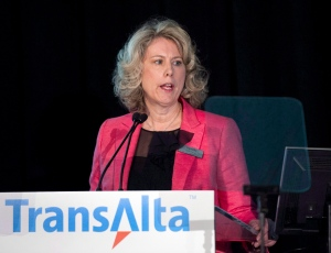 In this April 29, 2014 file photo, TransAlta Corp. CEO Dawn Farrell speaks during at the company's annual general meeting in Calgary. (Larry MacDougal / The Canadian Press)