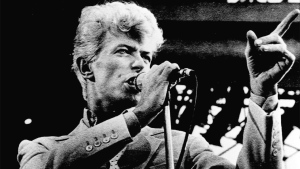 David Bowie sings to a crowd of 52,000 fans at the Commonwealth Stadium in Edmonton in this 1983 file photo. (The Canadian Press/ Dave Buston)