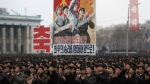 North Koreans gather at the Kim Il Sung Square to celebrate a satellite launch in Pyongyang, North Korea on Monday, Feb. 8, 2016. (AP / Jon Chol Jin)