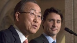 Prime Minister Justin Trudeau and United Nations Secretary General Ban Ki-moon take part in a joint news conference in the Foyer of the House of Commons on Parliament hill in Ottawa, Thursday, Feb. 11, 2016. (Adrian Wyld / THE CANADIAN PRESS)