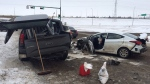 EPS closed westbound lanes of Whitemud Dr. at Anthony Henday Dr. Friday, February 12 due to a multi-vehicle collision.