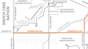 The City of Edmonton released a map showing the section of 23 Ave. that had been renamed to Maskêkosihk Trail - the change was announced Friday, February 12. Supplied.