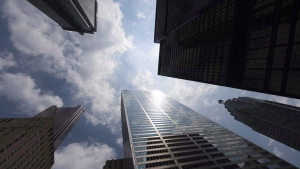 Bank towers are shown from Bay Street in Toronto's financial district, on Wednesday, June 16, 2010. (Adrien Veczan/THE CANADIAN PRESS)