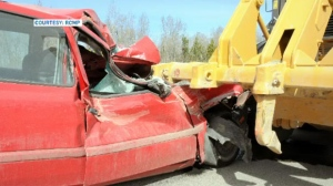 RCMP photograph of crash scene that left Melody Battle with at traumatic brain injury (courtesy RCMP)