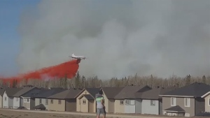 Water bombers were brought in to fight wildfires burning near Fort McMurray on Sunday, May 1, 2016. (Steven Auty)