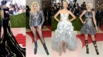 """They came as robots and gladiators, light-up princesses and high-haired goddesses shimmering in green, copper and silver. As predicted, the annual parade of fashion and star power at the Met Gala on Monday night included an array of interpretations on the evening's vibe: """"Manus x Machina: Fashion in an Age of Technology."""" From left: Katy Perry, Lady Gaga, Karolina Kurkova and Taylor swift poseat The Metropolitan Museum of Art Costume Institute Benefit Gala, celebrating the opening of """"Manus x Machina: Fashion in an Age of Technology"""" on Monday, May 2, 2016, in New York. (AP Photos)"""