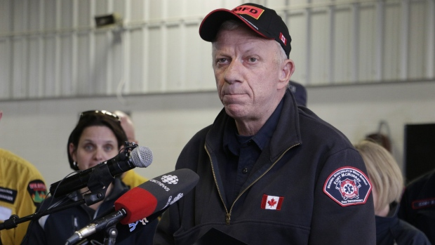Fort McMurray, Alberta, fire chief Darby Allen speaks to members of the media at a fire station in Fort McMurray, Monday, May 9, 2016. (AP / Rachel La Corte)