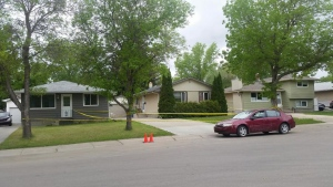 Regina Police investigate a homicide in the 200 block of Upland Drive on May 23, 2016 (Rebekah Lesko / CTV Regina)