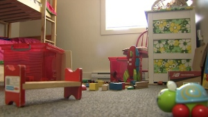 Toys litter the floor of an empty apartment in Victoria, B.C. The apartment has been vacant since a church began renting it in January for a family of six refugees from Syria. More than five months later and the family remains in a refugee camp in Jordan.