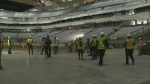 Members of the media were invited to preview construction on Edmonton's new downtown arena.