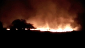 A huge fire is seen at the Pulgaon ammunition depot in Pulgaon in the Indian state of Maharastra, Tuesday, May 31, 2016. (K.K. Productions)