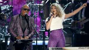 Stevie Wonder, left, and Tori Kelly perform 'Take Me With U' during a tribute to Prince at the BET Awards at the Microsoft Theater in Los Angeles on Sunday, June 26, 2016. (Matt Sayles / Invision)