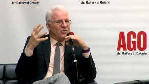 Steve Martin speaks about the Lawren Harris exhibit during an event at Toronto's Art Gallery of Ontario on Tuesday, June 28, 2016.