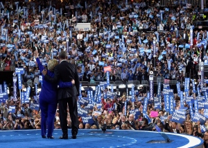 U.S. President Barack Obama, right, and Democratic presidential candidate Hillary Clinton, left, wave to the crowd following Obama's speech at the Democratic National Convention in Philadelphia, Wednesday, July 27, 2016. (AP / Susan Walsh)