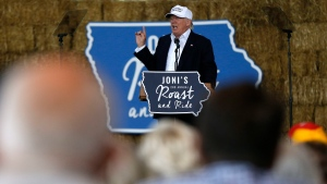Republican presidential candidate Donald Trump speaks at Joni's Roast and Ride during a fundraiser at the Iowa State Fairgrounds, in Des Moines, Iowa, Saturday, Aug. 27, 2016. (AP Photo / Gerald Herbert)