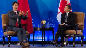 China Entrepreneur Club chairman Jack Ma (right) listens to Prime Minister Justin Trudeau respond to a question during an event in Beijing, China, Tuesday, Aug. 30, 2016. (Adrian Wyld / THE CANADIAN PRESS)