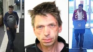 William Geoffrey Schaffrick, 44, is shown in stills taken from surveillance video (left and right), and an undated photo. Supplied.
