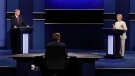 Democratic presidential nominee Hillary Clinton answers a question as Republican presidential nominee Donald Trump listens during the third presidential debate at UNLV in Las Vegas, Wednesday, Oct. 19, 2016. (AP / John Locher)