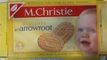 A photo of a 350-gram  box of Mr. Christie's Arrowroot Biscuits. (Canadian Food Inspection Agency)