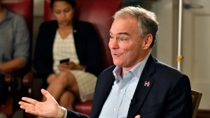 Democratic vice presidential candidate Sen. Tim Kaine, D-Va., speaks to The Associated Press during an interview in Boston, Saturday, Oct. 22, 2016. (AP Photo/Josh Reynolds)