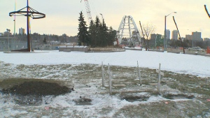 Human remains found near the Rossdale Power Plant earlier this year were re-buried Wednesday, December 7 at the Fort Edmonton Traditional Burial Site (near the Waltderdale Bridge).