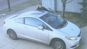 Police released stills from surveillance footage showing the suspect in the theft of holiday lights on Monday, November 28, from a home in Summerside. Supplied.
