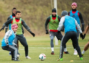 Toronto FC forward Sebastian Giovinco, left, takes part in a drill with teammates during practice ahead of the MLS championship final match against the Seattle Sounders in Toronto on Wednesday, Dec. 7, 2016. (THE CANADIAN PRESS/Nathan Denette)