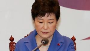 South Korean President Park Geun-hye attends an emergency Cabinet meeting at the presidential office in Seoul, South Korea, Friday, Dec. 9, 2016. (Baek Sung-ryul / Yonhap via AP)