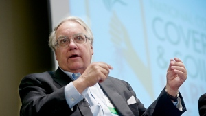 Philanthropist Howard G. Buffett, son of investor Warren Buffett, participates in a panel discussion in Omaha, Neb., Tuesday, Feb. 18, 2014. (AP Photo/Nati Harnik)