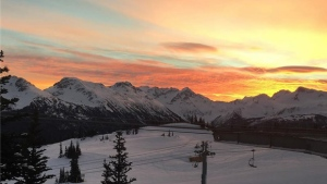 Photos taken by west coast residents captured stunning skies over British Columbia, from the bright white glow of the full moon to the rainbow of colours on the horizon at sunrise.  <br><br> A colourful sky is seen from Whistler in this photo posted by @scott.ve to Instagram.