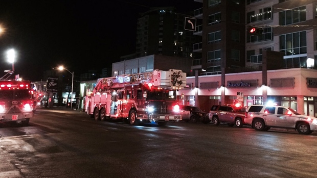 Firefighters on the scene of an apartment fire on Jasper Ave. and 118 St. on Thursday, January 19, 2017.