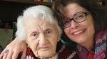 Knar Yemenidjian and Nazan Artinian at Yemenidjian's 107th birthday last year in 2017. (Nazan Artinian)