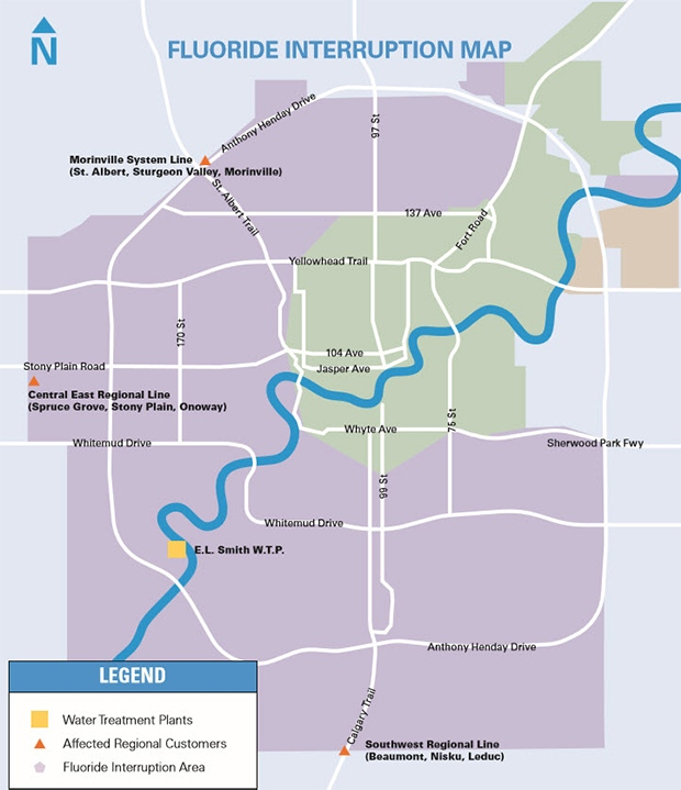 A fluoride interruption map provided by EPCOR