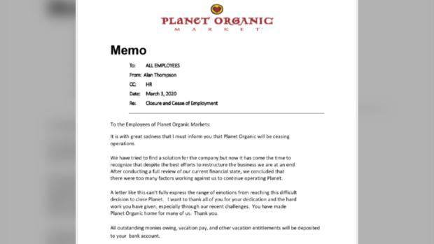 Planet Organic Market memo