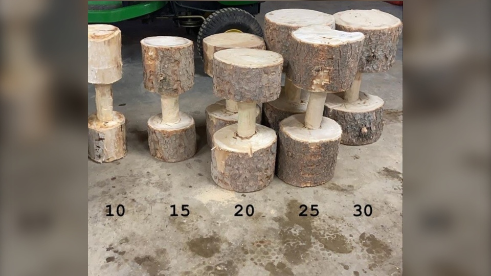 Dumbbells made from trees