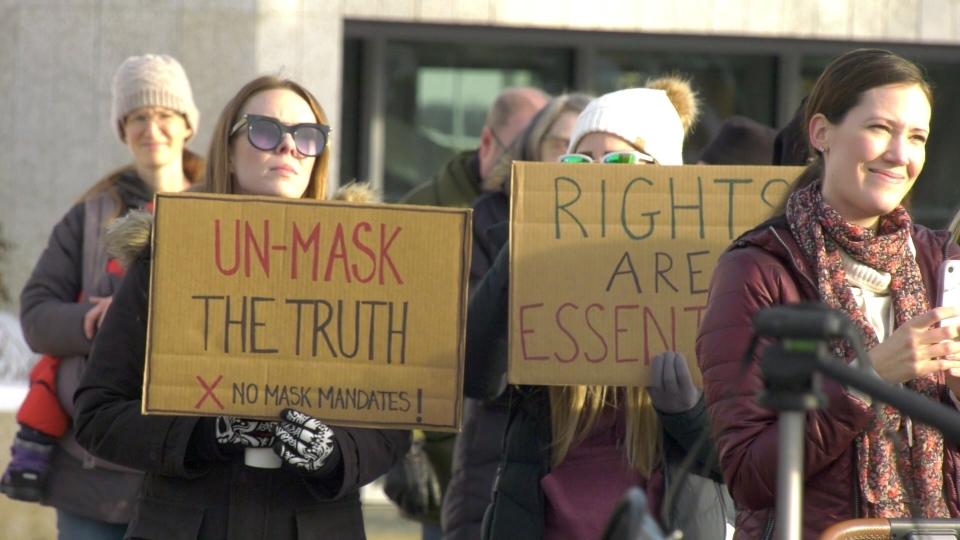 Edmonton anti-mask protestors.