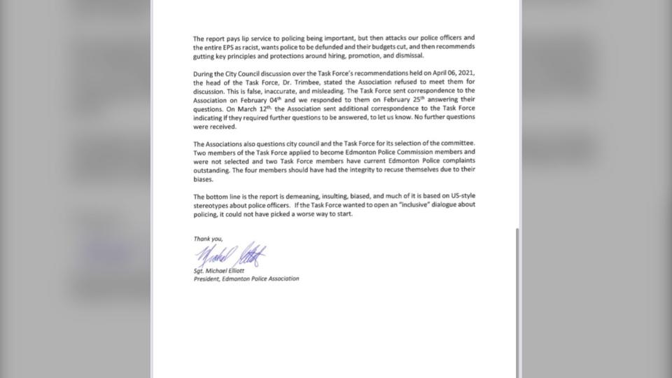 Police Association Letter