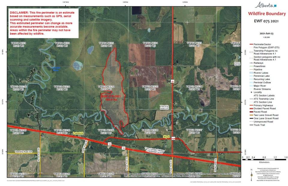 Yellowhead County wildfire map